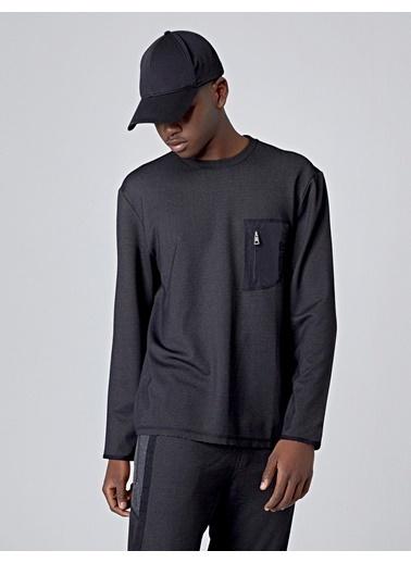 Huxel MUS002193 Dik Cep Sweatshirt Gri